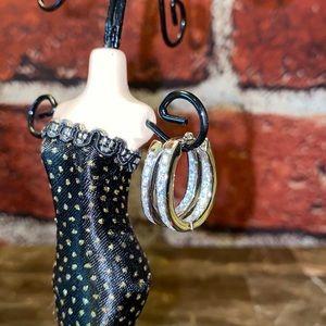 .925 Silver Channel Set CZ Huggie Earrings